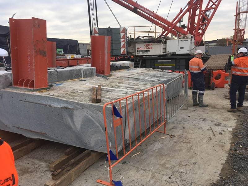 Concrete sections awaiting crane lift