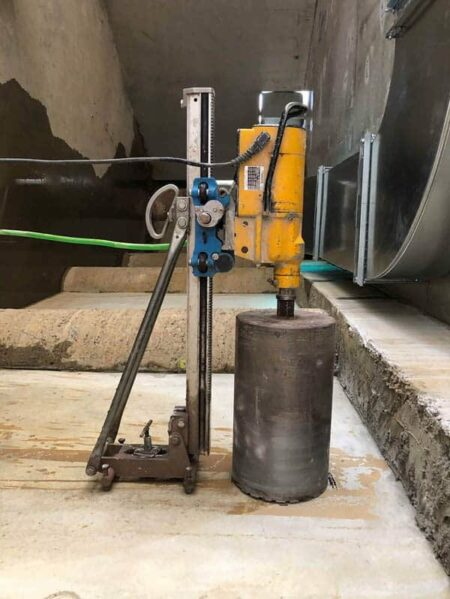 Core Drilling into floor slab Set Up